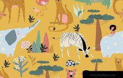 野生动物矢量无缝图案素材