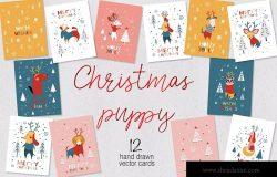 圣诞小狗手绘图案贺卡设计模板 Christmas Puppy Cards