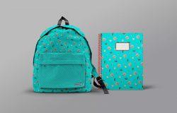 学校背包&文具笔记本样机模板