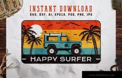 旅行冲浪俱乐部徽标/复古旅行品牌Logo设计模板 Happy Surfer Badge / Vintage Travel Logo