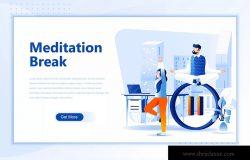 冥想训练网站设计概念插画设计素材 Meditation Break Flat Landing Page Header