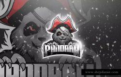 邪恶熊海盗电子竞技吉祥物Logo标志设计模板 Pandark – Mascot & Esport Logo