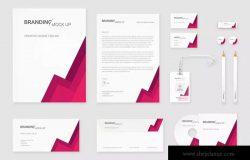 企业VI标识设计预览办公用品套件样机 Branding Identity – Material Triangle for Psd