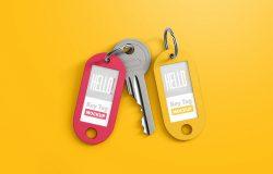 钥匙扣标签设计样机 Key Tag Mockup