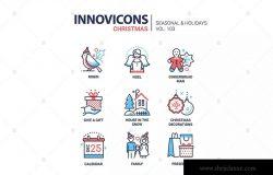 圣诞符号扁平设计风格线性图标素材v2 Christmas symbols line design style icons set