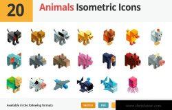 20枚动物3D建模矢量等距图标