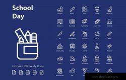 校园日教育主题线性图标矢量图标素材