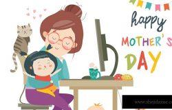 母亲节主题矢量卡通手绘插画素材