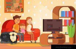 电视观看场景卡通手绘插画设计素材