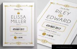 简约文字排版风格婚礼婚宴邀请函设计模板 Simple Elegant Invitation
