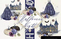 万圣节之夜节日元素剪贴画高清PNG素材 Halloween Night design
