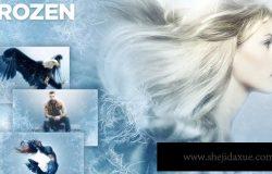 冰霜雪花效果照片处理PS动作 Frozen Photoshop Action CS3+