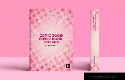 漫画变焦效果图书封面设计效果图样机模板 Comic Zoom Cover Book Mockup