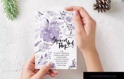 紫色水彩手绘婚礼婚宴请柬电子版设计模板 Purple handprinted Wedding Invitation Card