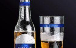 啤酒品牌商标设计图预览啤酒瓶&啤酒杯样机01 Beer Bottle and Glass Mockup