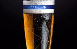 啤酒玻璃酒杯啤酒品牌Logo设计演示样机01 Beer Glass Mockup
