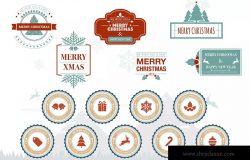 圣诞节主题徽章矢量设计图形 Christmas Badge