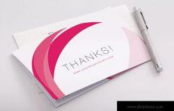 感谢卡感恩卡封面设计预览PSD样机02 Bifold Thank You Card PSD Mockup