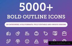 5000+粗线条图标合集