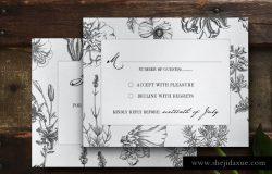 植物装饰婚礼邀请函邀请卡模板