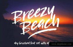 硬画笔笔刷英文字体下载 Breezy Beach: dry brush fon