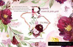 勃艮第奶油和金粉色水彩花卉剪贴画