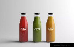果汁玻璃瓶外观设计样机模板 Juice Bottle Packaging Mock-Up