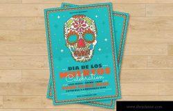 墨西哥亡灵节现场音乐会表演宣传海报设计模板 Dia De Los Muertos Festival