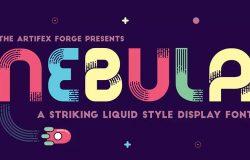 圆形线条英文装饰字体 Nebula – A Liquid Style Font