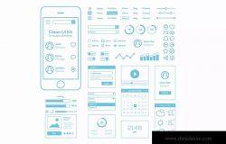 简约设计风格手机APP应用线框图草图设计模板 Clean UI Kit for Rough Sketching