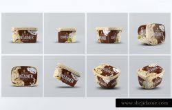 时尚高端的冰淇淋雪糕包装设计VI样机展示模型mockups