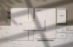 逼真的品牌/文具PSD预览组合样机模板