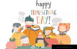 儿童卡通风格感恩节主题手绘矢量图形素材 Cartoon children harvesting. Happy Thanksgiving Da
