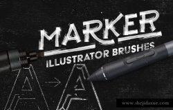 马克笔数码绘画AI画笔笔刷 Marker Illustrator Brushes