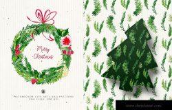 水彩手绘圣诞装饰元素PNG高清图片素材 Christmas Decorations