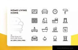 家庭生活主题Outline风格轮廓图标素材 HOME LIVING OUTLINE