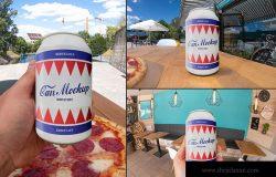 啤酒饮料易拉罐外观设计样机 Outdoor Drink Can Mockups