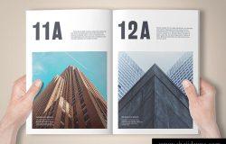时尚高端A4尺寸铝箔冲压杂志画册品牌手册房地产楼书书籍装帧VI样机展示模型mockups