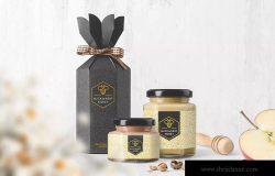 蜂蜜玻璃罐及外包装盒设计样机模板 Honey Jar Packaging Mockups