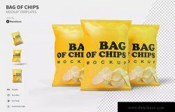 薯片膨化食品包装袋设计样机模板 Bag of Chips – Mockup FH