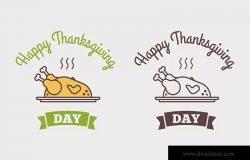 扁平设计风格感恩节庆祝主题Logo设计模板 Flat design style Happy Thanksgiving Day logotype,