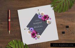 鲜花婚礼请柬/贺卡设计模板 Floral Wedding Invitation Card