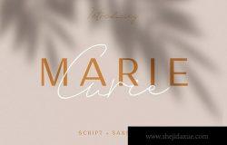 英文钢笔草书书法字体&无衬线字体合集 Marie Curie – Sans & Script