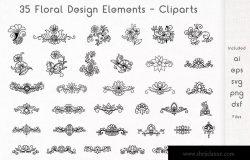 35个矢量手绘花卉设计元素剪贴画素材 Floral Design Elements – Cliparts