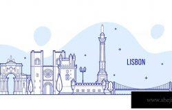 葡萄牙里斯本城市天际线轮廓线矢量图形素材 Lisbon skyline, Portugal