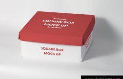 高品质的正方形的包装盒子VI样机展示模型mockups