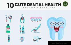 10个牙齿保健护理主题卡通形象矢量插画 10 Cute Dental Health Vector Illustration