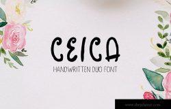 优雅的手写英文字体及手绘花叶花圈素材 Ceica Handwritten Duo Font