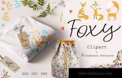 可爱小狐狸动画手绘图案装饰纹理背景素材