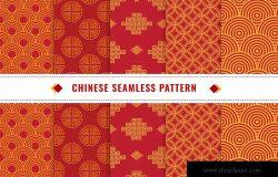 中国新年主题元素无缝图案矢量背景图素材v1 Chinese Seamless Pattern Vector